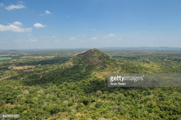 Green forest view from Sigiriya or Sinhagiri (Lion Rock Sinhalese) is an ancient rock fortress located in the northern Matale District near the town of Dambulla in the Central Province, Sri Lanka.