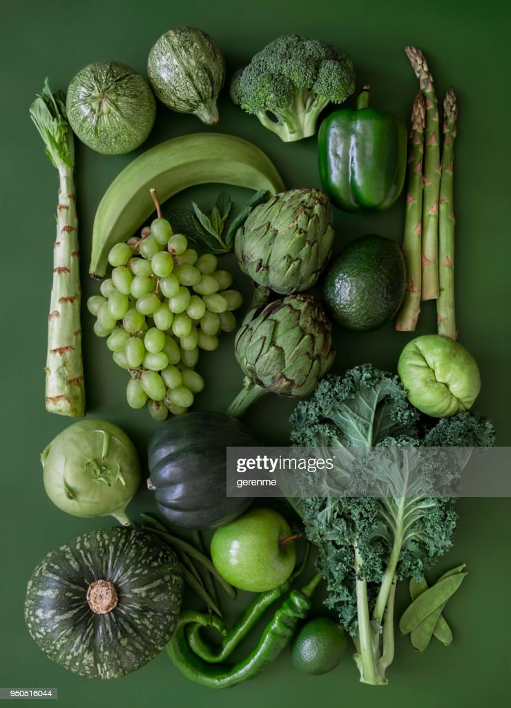 Green fruits and vegetables : Stock Photo