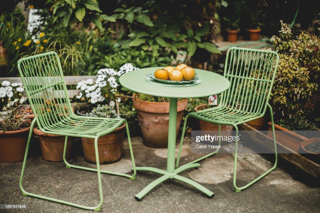 green garden furniture in a small garden. : Foto de stock