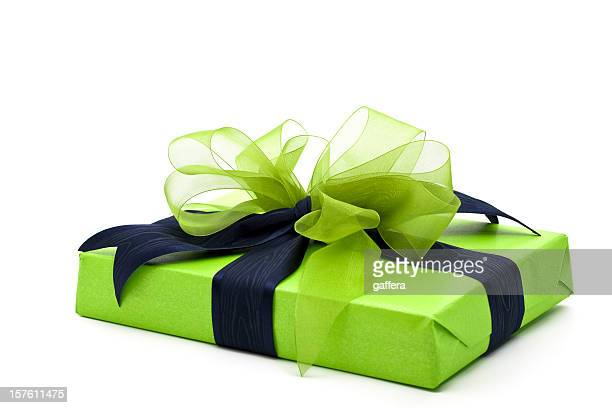 green gift box - royal blue stock pictures, royalty-free photos & images