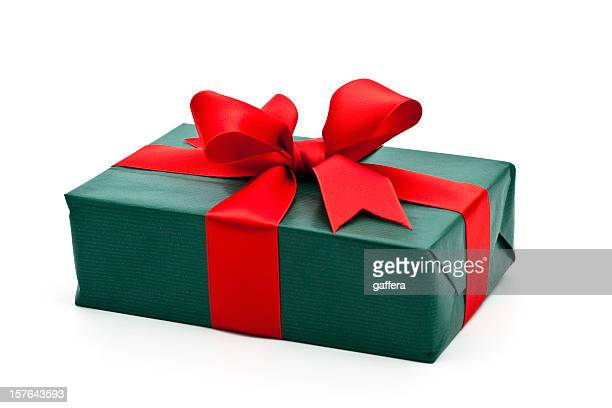 green gift box with red bow