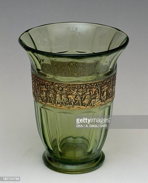 Green glass vase with gilded glass edge, 1930-1939, Italy, 20th century.