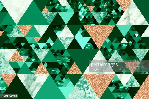 green gold triangle geometric shapes marble glitter texture background - エメラルドグリーン ストックフォトと画像
