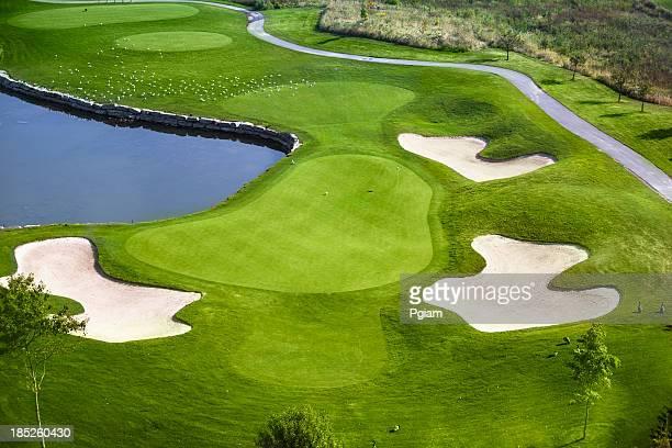 Grüne Golfplatz – Luftaufnahme