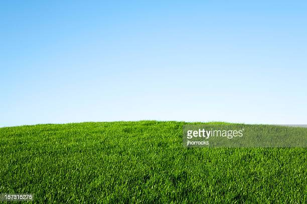 green grass and blue sky - hill stock pictures, royalty-free photos & images