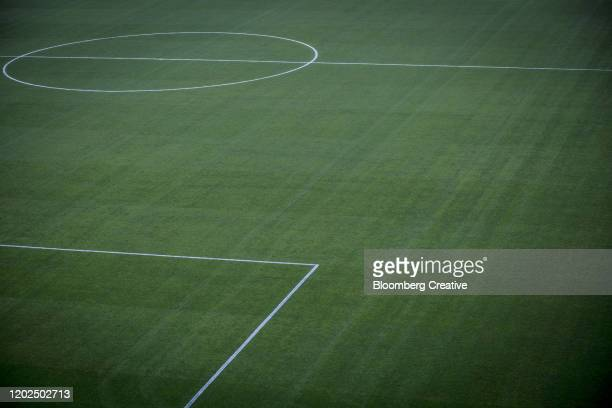 green grass at a soccer pitch - kicking stock pictures, royalty-free photos & images