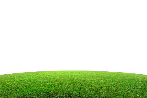 Green grass field on mountain isolated on white background. Beautiful grassland with slope. ( Clipping path ) 1152600490
