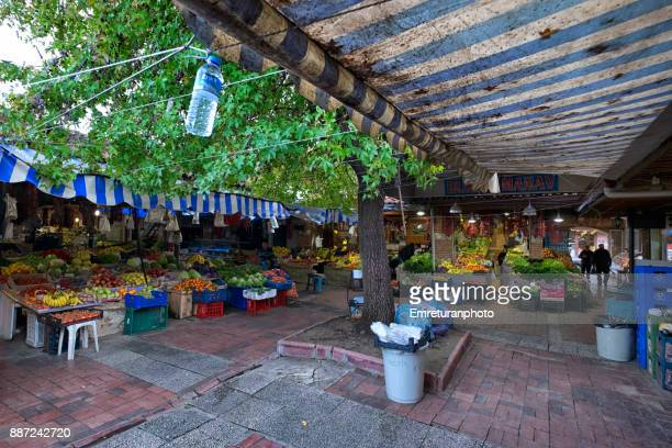 green grocer's shops at fish market entrance in fethiye. - emreturanphoto stock pictures, royalty-free photos & images