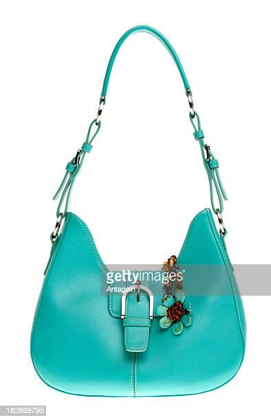 green handbag - blue purse stock pictures, royalty-free photos & images