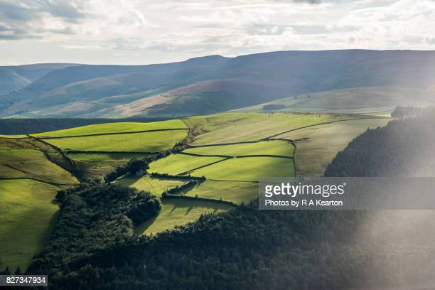 Green hills of the Peak District, Derbyshire, England