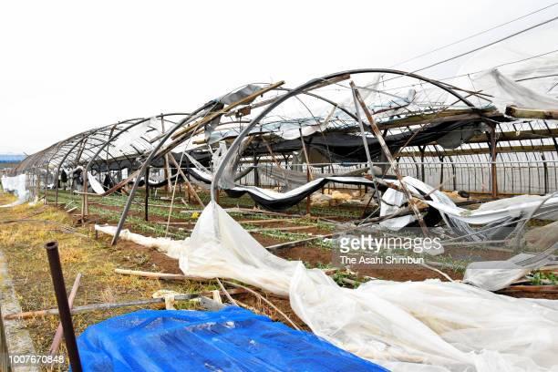 A green house is damaged after Typhoon Jongdari ran past the area on July 29 2018 in Tahara Aichi Japan Strong typhoon Jongdari that made landfall on...