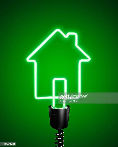 Green, house shaped energy saving eco lightbulb