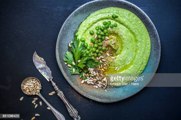 Green Hummus Plate with Antique Spoon and Knife