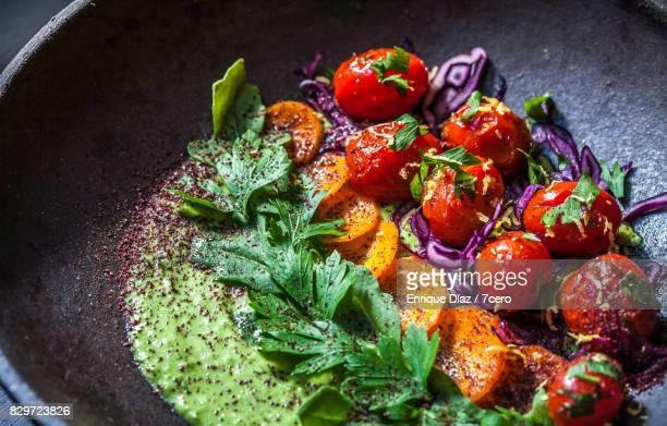 Green Hummus Salad Plate Close Up