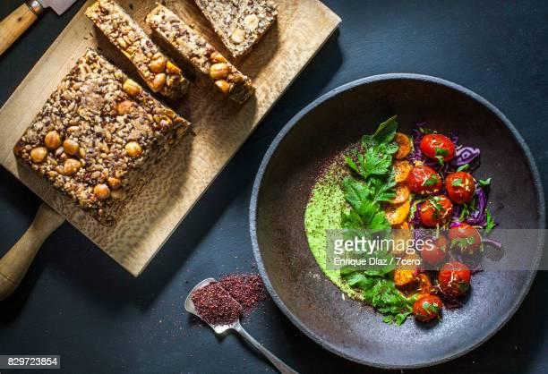 Green Hummus Salad Plate with Hazelnut Bread
