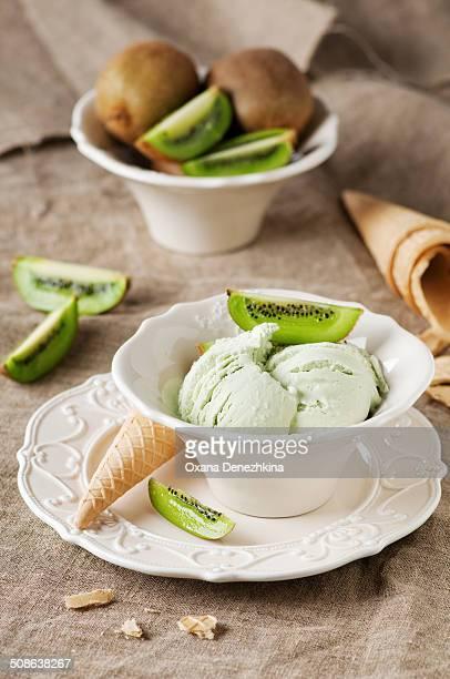 Green ice-cream with kiwi