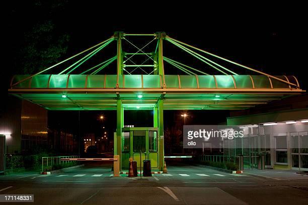 Green illuminated entrance gate