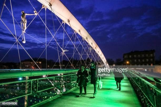 Green illumination on St Patrick's Day of Kladka Bernatka footbridge in Krakow, Poland on 17 March, 2017. Poland joined the Global Greening campaign...
