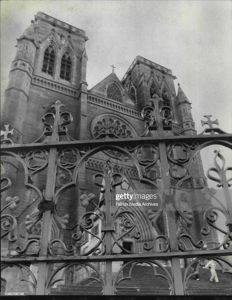 Green iron shamrocks on the fence around St. Mary's cathedral in College Street, Sydney. : News Photo