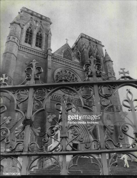 Green iron shamrocks on the fence around St Mary's cathedral in College Street Sydney July 6 1982