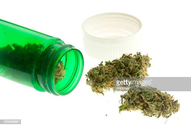 A green jar of marijuana spilled on its side