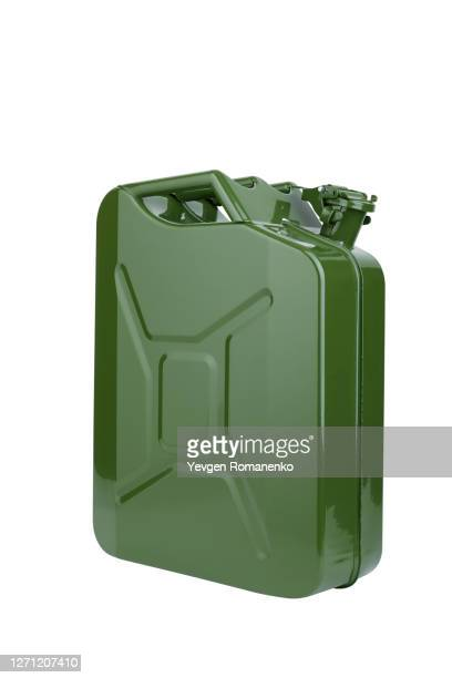 green jerrycan isolated on white background - キャニスター ストックフォトと画像