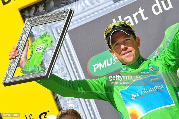 Green jersey Kim Kirchen on the podium after stage 9 of the 2008 tour de France between Toulouse and Bagneres -de-Bigorre.