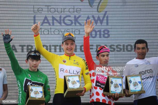 Green jersey winner Kim Daeyeon of KSPO Bianchi Asia Procycling Korea Yellow jersey winner Adam De Vos of Rally Cycling USA Red Polka Dot jersey...