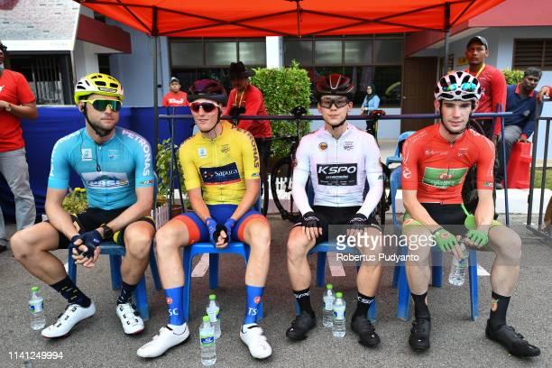 Green jersey winner Michael Freiberg of Pro Racing Sunshine Coast yellow jersey winner Marcus Culey of Team Sapura Cycling white jersey winner Kim...