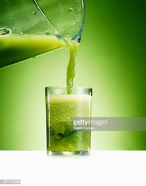 Green Juice Pour from Pitcher into Glass