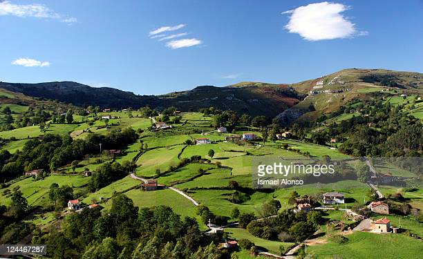 Green landscape with houses on mountain