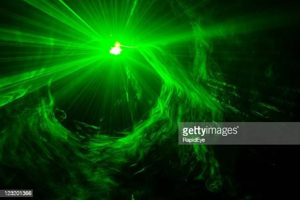 Green laser light with smoke and strobe effect
