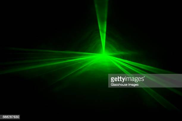 Green Laser Lights in Tunnel, Abstract