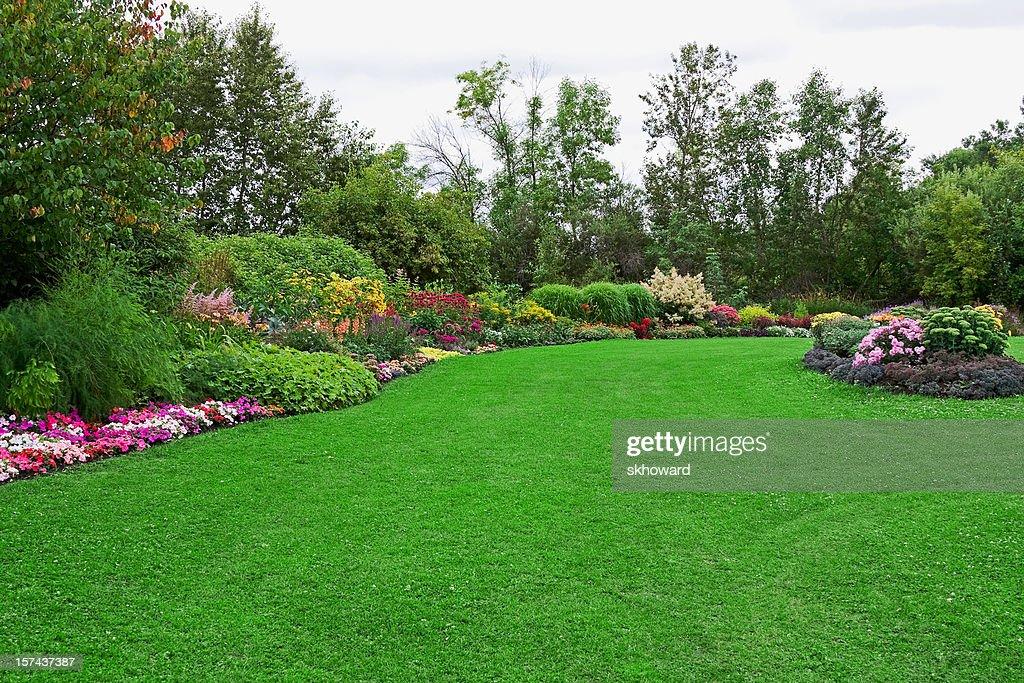Green Lawn in Landscaped Formal Garden : Stock Photo