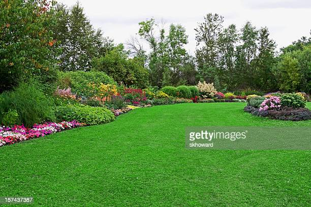 green lawn in landscaped formal garden - landscaped stock pictures, royalty-free photos & images
