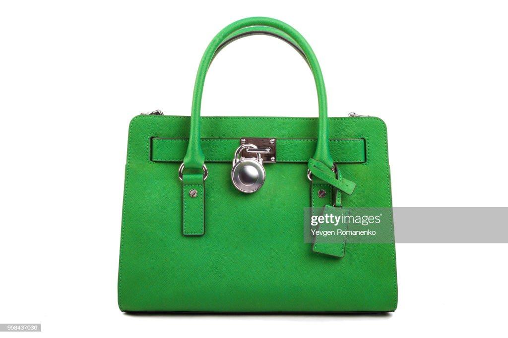 Green Leather Womens Handbag On White