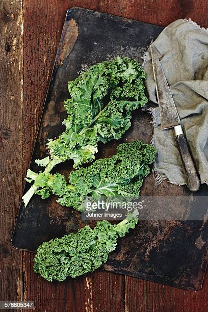 Green leaves and knife on chopping board