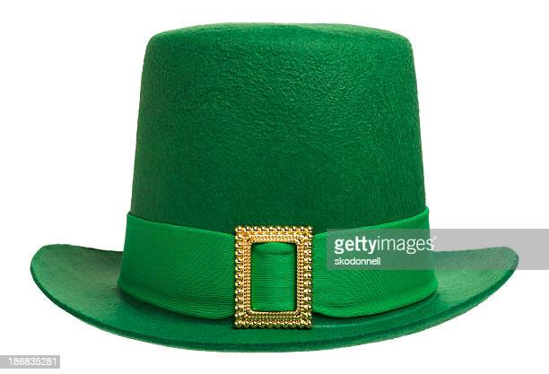 green leprechaun hat isolated on white - st patricks stock pictures, royalty-free photos & images
