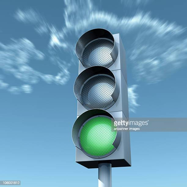 Green Light in Front of a Blue Sky