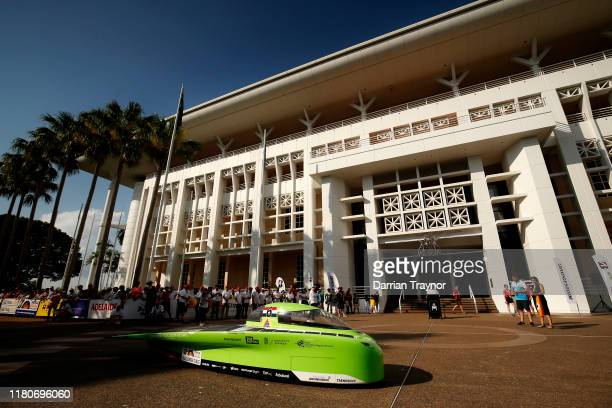 Green Lightning' from Top Dutch Solar Sport waits on the start line on Day 1 of the 2019 Bridgestone World Solar Challenge in Darwin on October 13,...