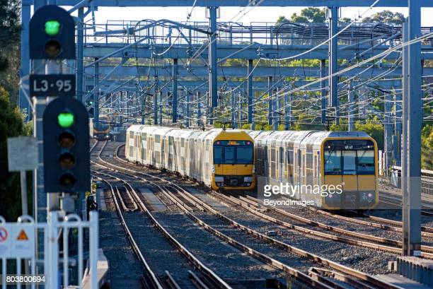 Green lights and Sydney Trains rush hour suburban commuter services