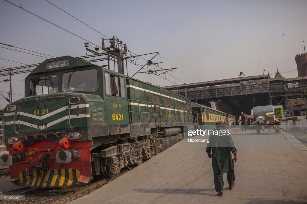 A Green Line Express train operated by Pakistan Railways between Islamabad and Karachi sits at Lahore Railway Station in Lahore Pakistan on Tuesday...