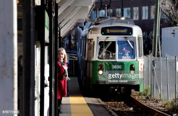 Green Line train arrives at Lechmere Station the current northern terminus of the Green Line in Cambridge MA on Nov 17 2017 The Ts board of directors...