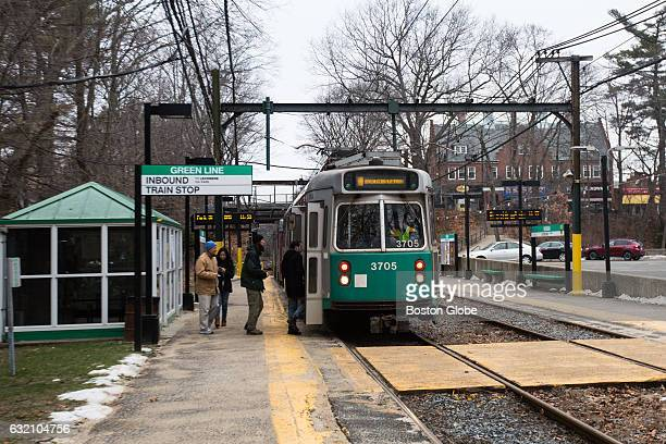 A green line train makes its way through Waban Station in the Waban Village of Newton MA on Jan 17 2016