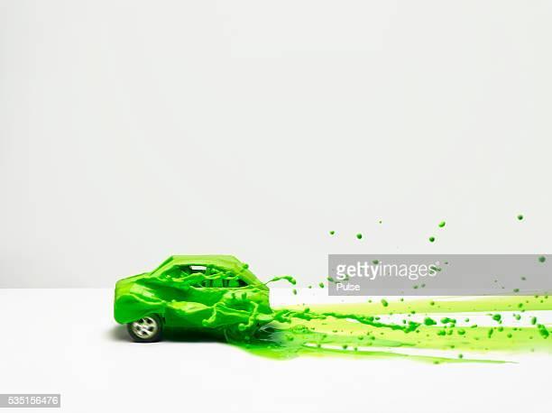 Green liquid on car.