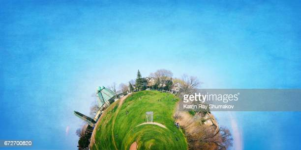 green little planet of spring - fish eye lens stock pictures, royalty-free photos & images