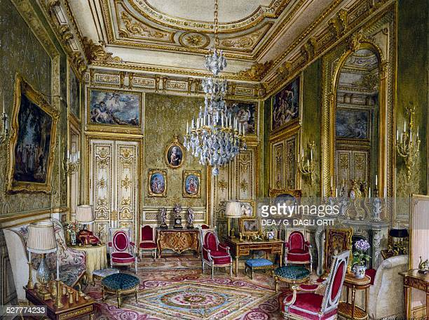 Green living room for the Hotel 23 Avenue Marigny Paris watercolour by Alexandre Serebriakoff France 20th century