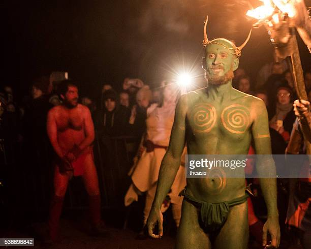 green man at the beltane fire festival, edinburgh - beltane fire festival stock pictures, royalty-free photos & images