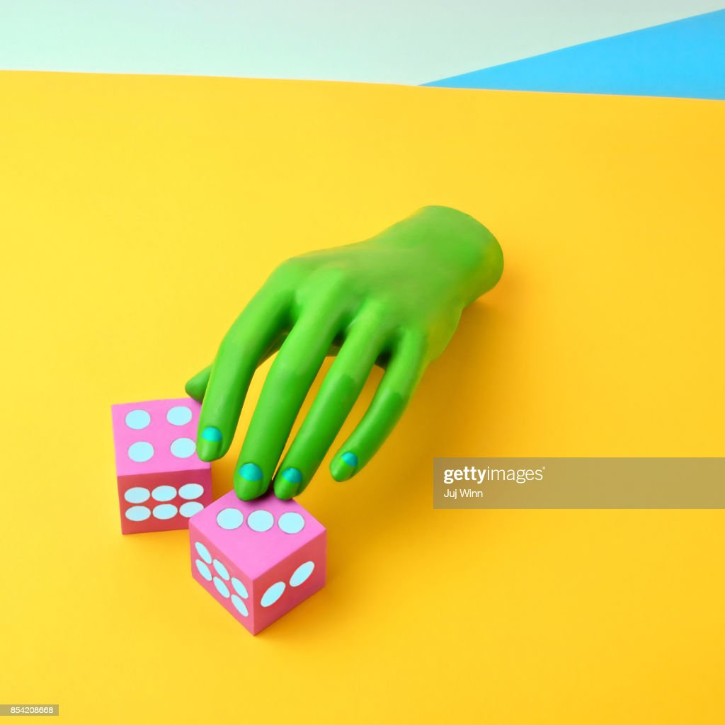 Green Mannequin Hand With Dice : Stock Photo