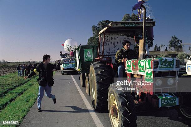 Green march of farmers Farmers´ groups during the agrarian march of protest going to Madrid
